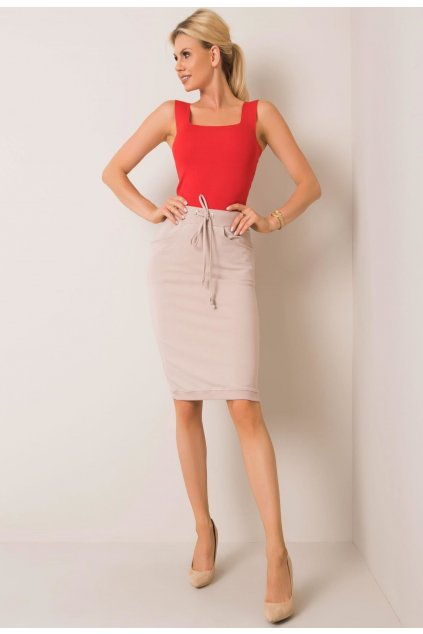 Béžová dámska pletená sukňa