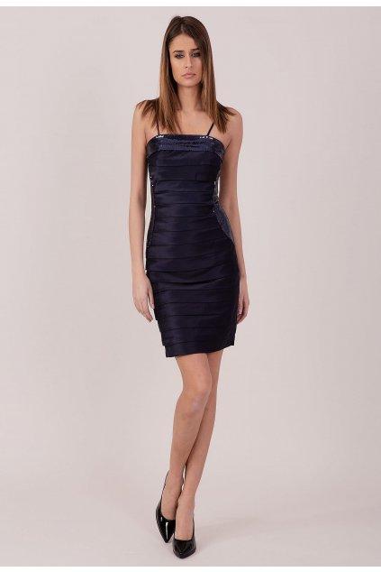 Modré dámske koktejlové šaty