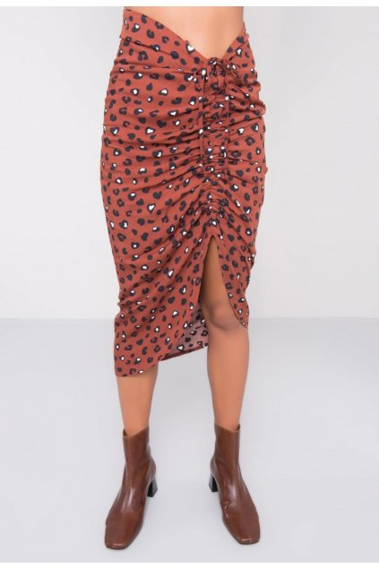 Hnedá dámska puzdrová sukňa
