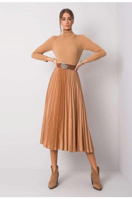 Béžová dámska plisovaná sukňa