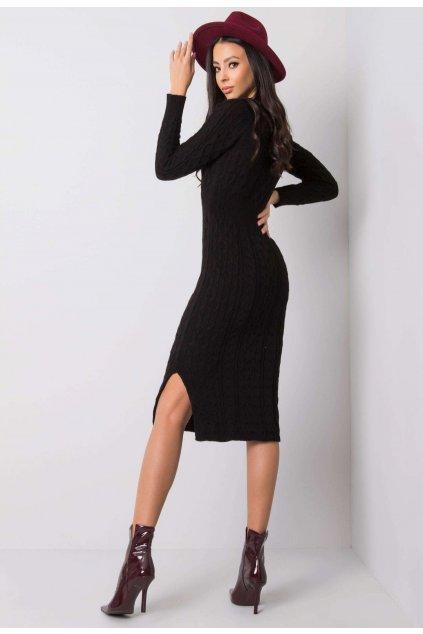 Čierne dámske pletené šaty
