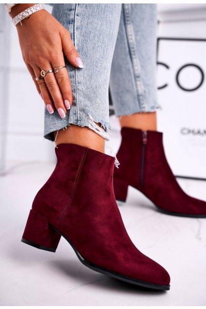 Červené dámske členkové topánky