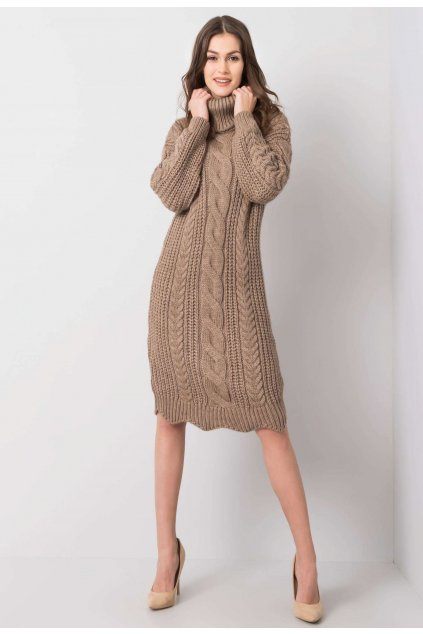 Béžové dámske pletené šaty