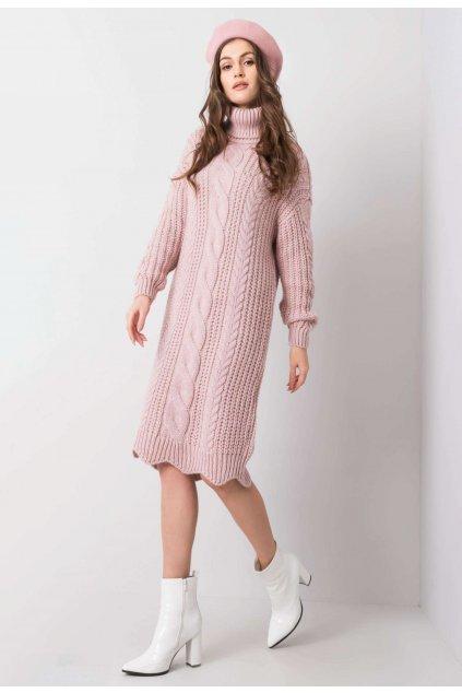 Ružové dámske pletené šaty