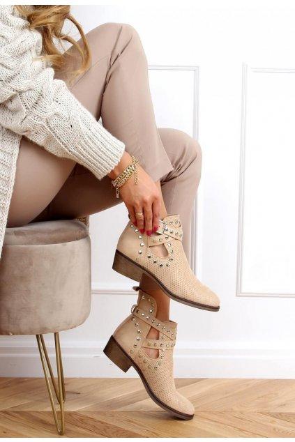 Béžové dámske členkové topánky