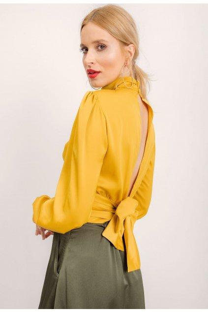 Žltá dámska elegantná blúzka