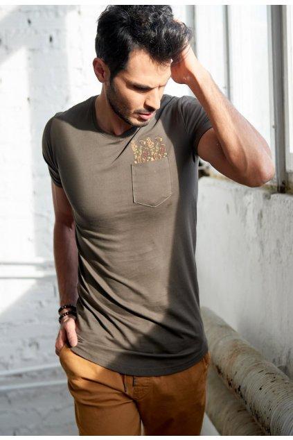 Khaki pánske tričko