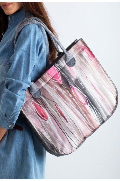 Šedo - ružová dámska kabelka