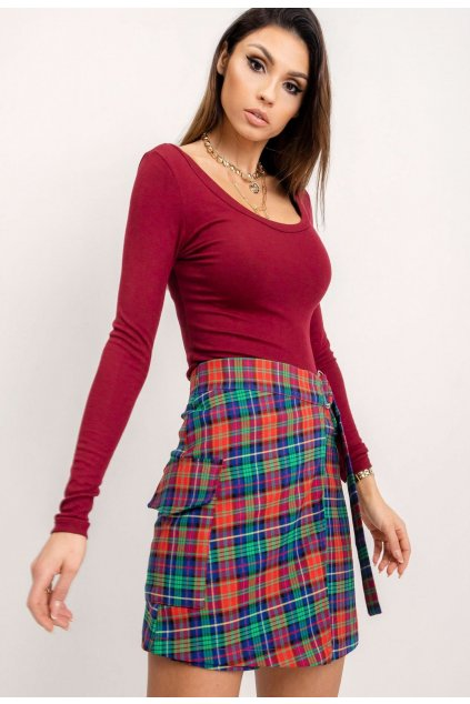 Červená dámska puzdrová sukňa