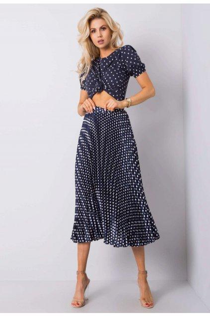 Modrá dámska plisovaná sukňa