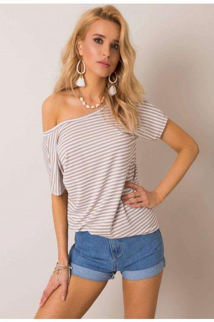 Béžové dámske tričko s potlačou