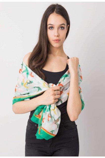 Bielo - zelená dámska šatka