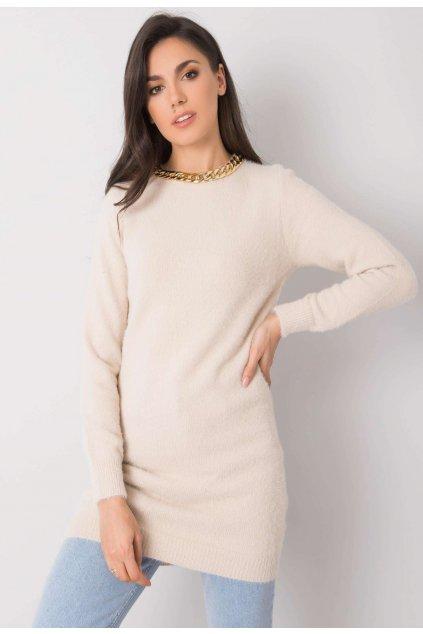 Béžový dámsky dlhý sveter