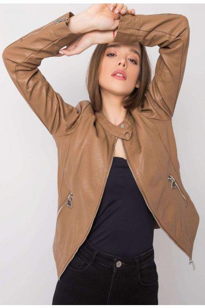 Béžová dámska koženková bunda