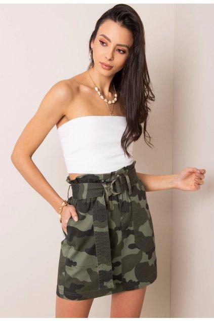 Khaki dámska riflová sukňa