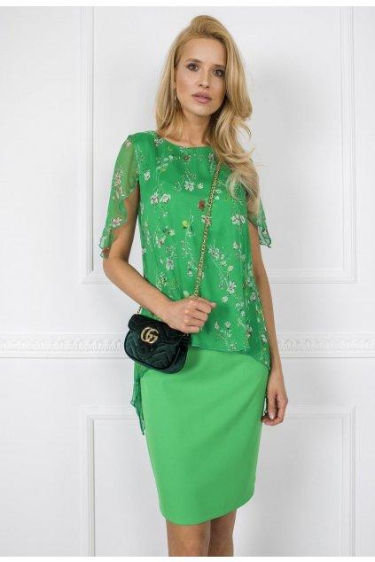 Zelené dámske šaty s potlačou