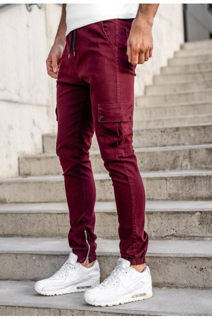Bordové pánske nohavice