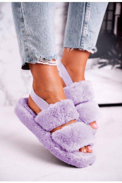 Fialové dámske domáce papuče