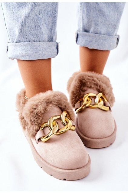 Hnedé dámske domáce papuče