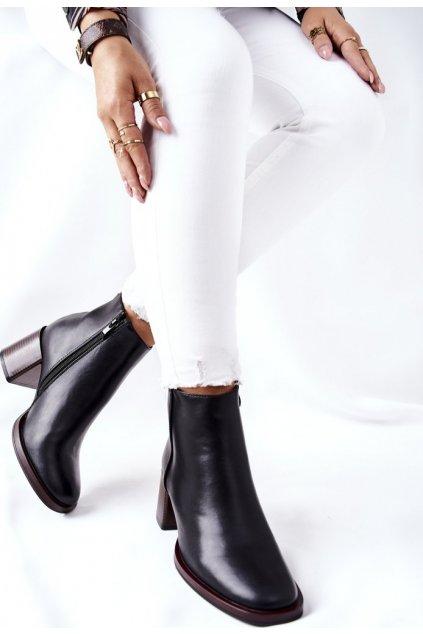 Čierne dámske členkové topánky