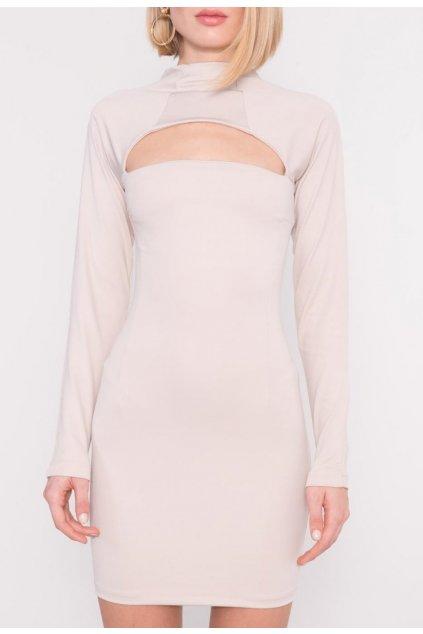 Béžové dámske puzdrové šaty