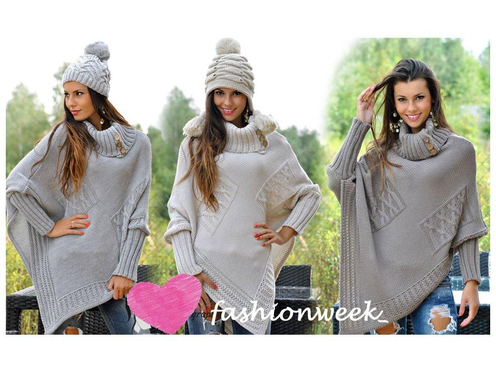 HOT  Luxusní pončo s teplým rolákem  SVETR KABAT - fashionweek-moda.cz c3dc2de646