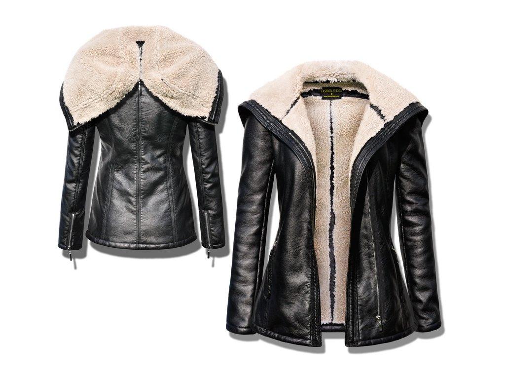 Vyteplená měkká kožená bunda s kožíškem LUX F78 - fashionweek-moda.cz 5d29c7b53b5