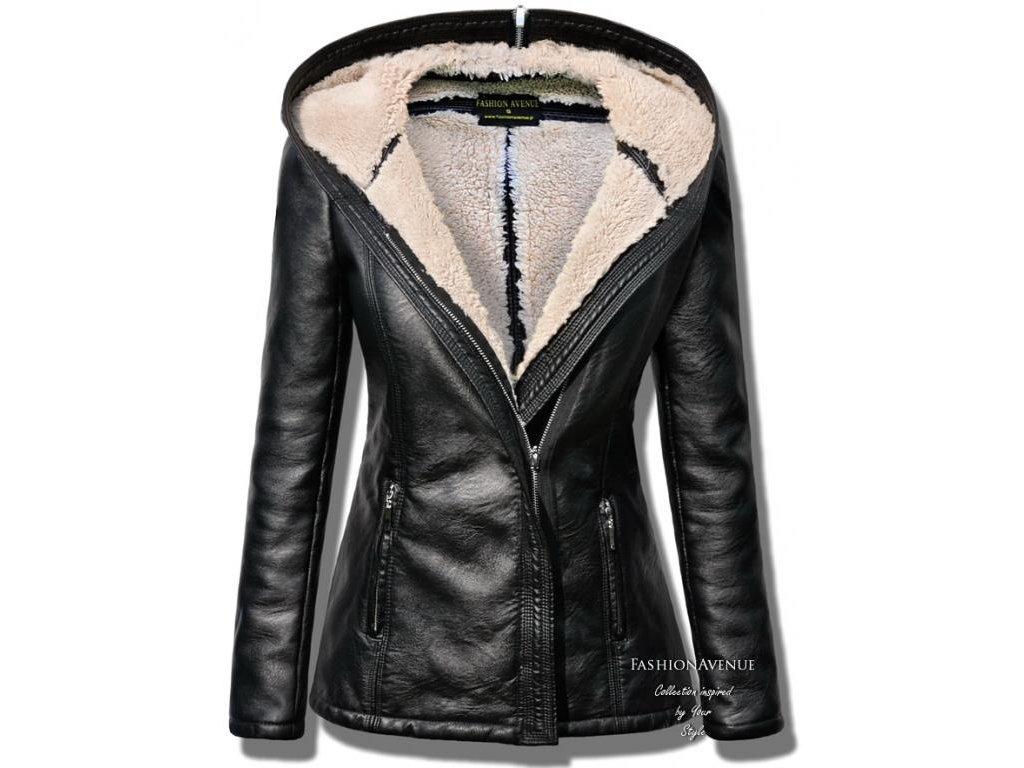 Vyteplená měkká kožená bunda s kožíškem LUX F78 - fashionweek-moda.cz ff55e7c9147