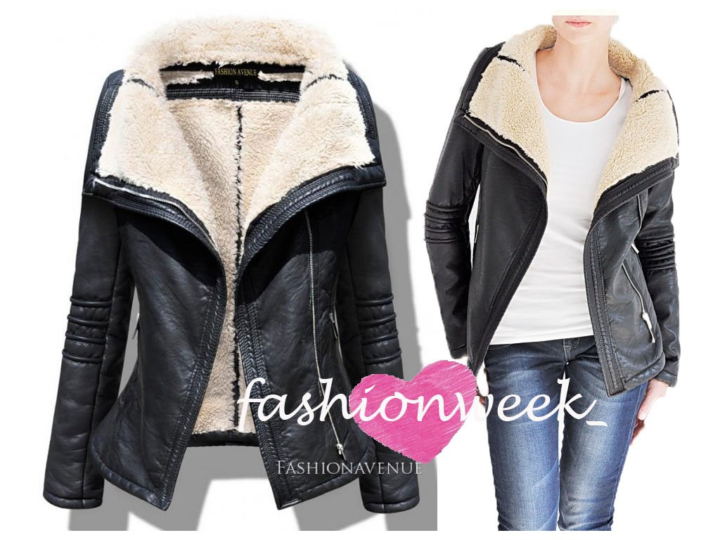 Zimní bunda LUX kožená s kožíškem F54 - fashionweek-moda.cz 1daabc43144