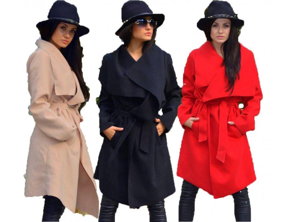 Luxusní dlouhý FLAUŠOVÝ KABÁT S PÁSKEM SEVEN - fashionweek-moda.cz 4aeaa97220