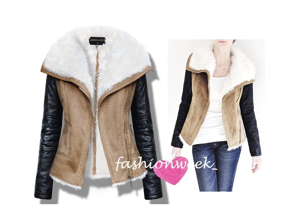 Stylová měkká kožená bunda s kožíškem Lux F55 - fashionweek-moda.cz 84769f4ad56
