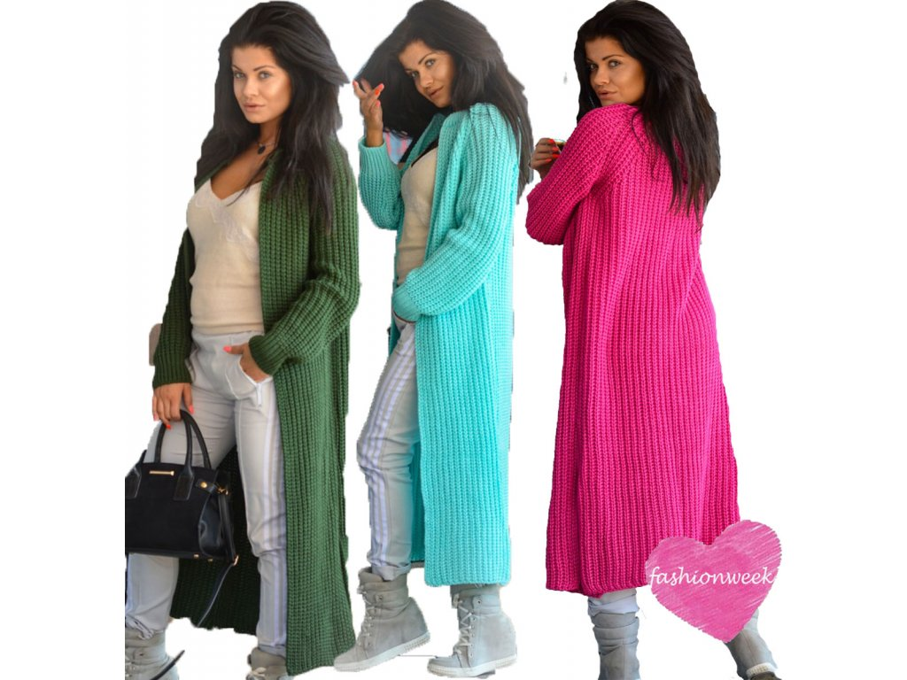 1c0add0815e Luxusní neobvyklé pletené dlouhé svetry kabáty MAXI SV06 ...
