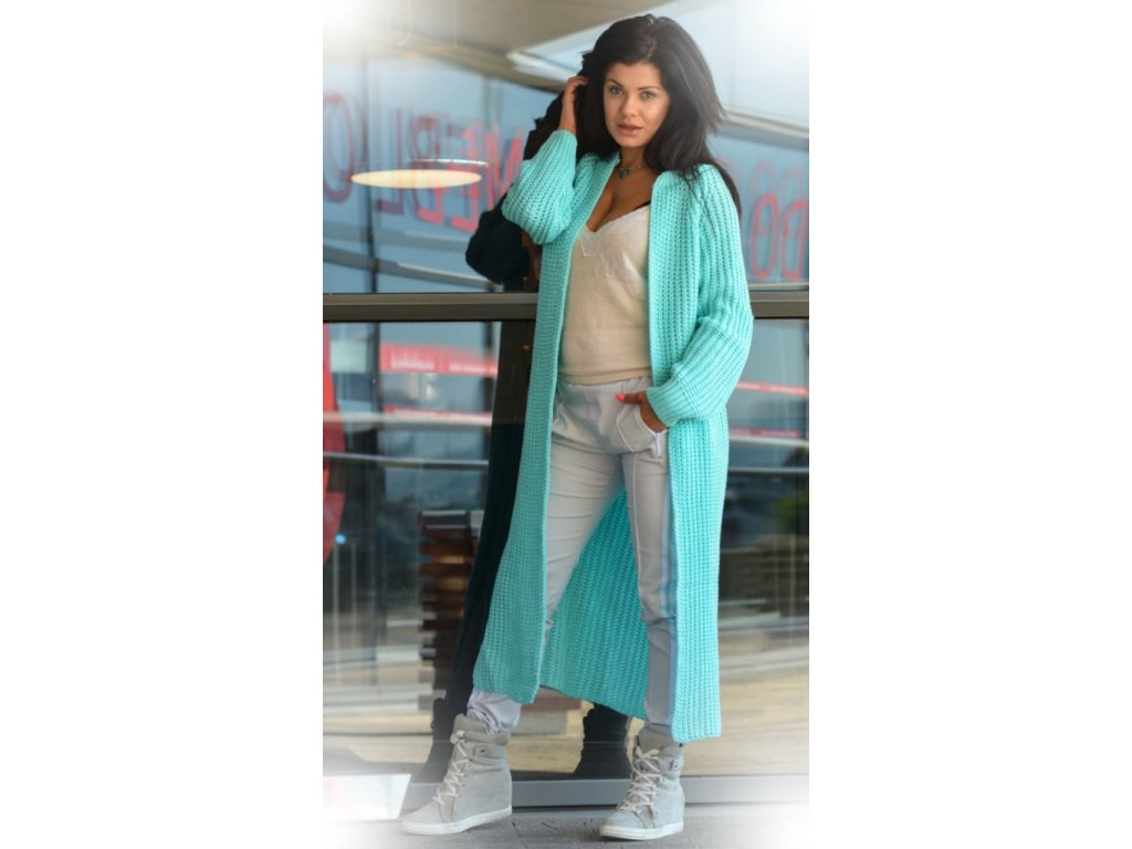 Luxusní neobvyklé pletené dlouhé svetry kabáty MAXI SV06 ... 31c66c4539