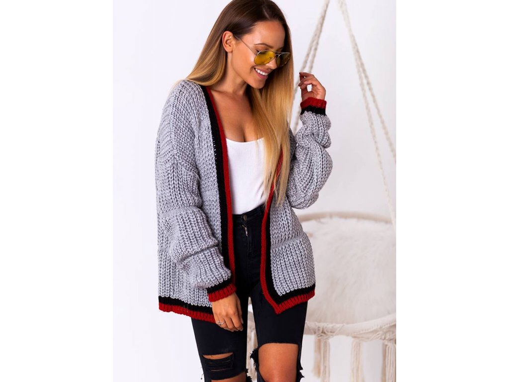 Dámský luxusní pletený svetr krátký barevné lemy N03A - fashionweek ... 7693c7816b
