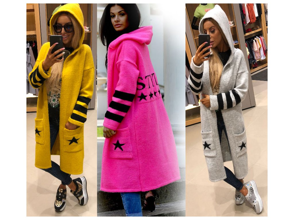 ee23a0e220 Dámský elegantní svetr exclusive - kabát s kapucí STYLE JK13 -  fashionweek-moda.cz