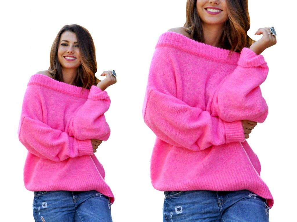 Oversize elegantní svetr s carmen výstřihem pro chladné dny JK19 ... 2791189bce
