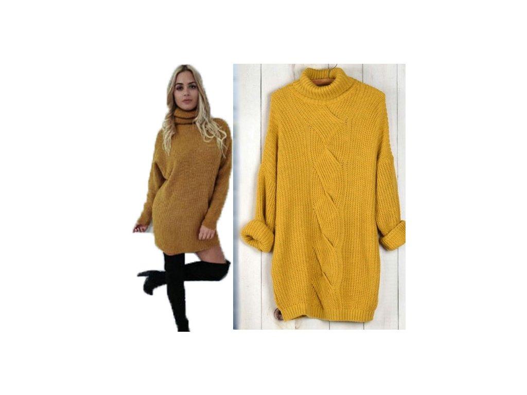 ca09510b5c0 Pletené sveterové šaty oversized s rolákem pro chladné dny MD49 130 -  fashionweek-moda.cz