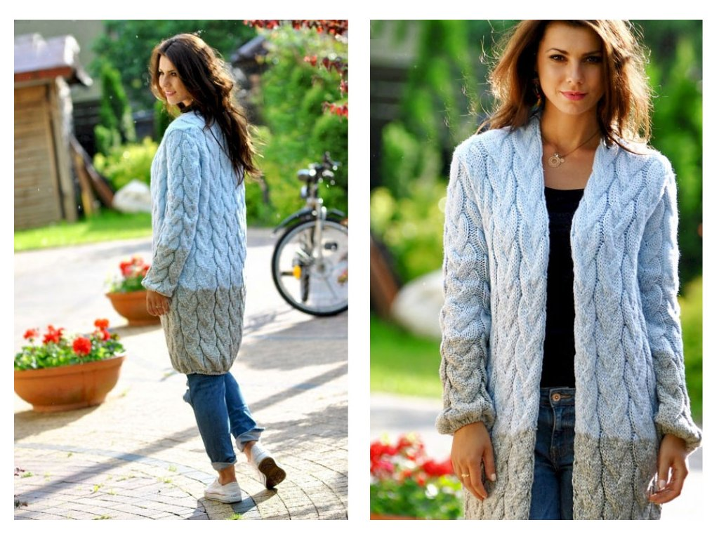 1f0f1622fa3d Dlouhý pletený cardigan s copánky JK36 CHLOE - fashionweek-moda.cz