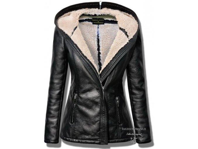 Vyteplená měkká kožená bunda s kožíškem LUX F78