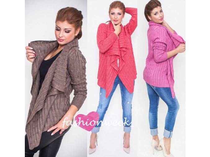 Masitý dámský svetr s copánky NB5502