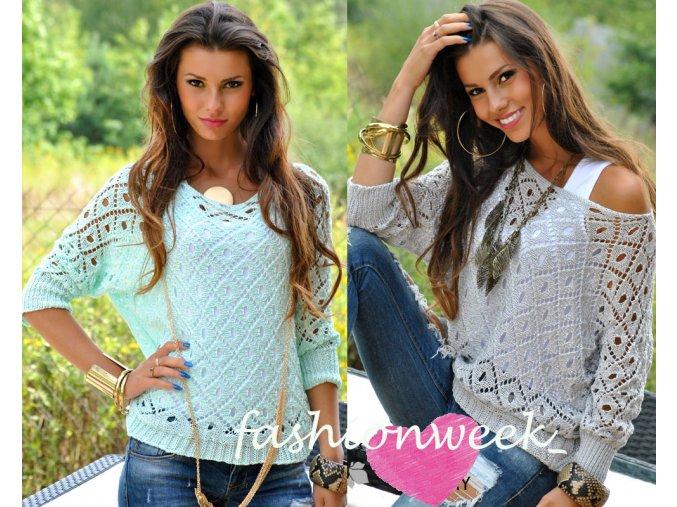 Háčkovaný svetr Fashion lux top Leticia