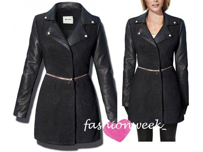Stylový unikátní kabát s koženými rukávy F86