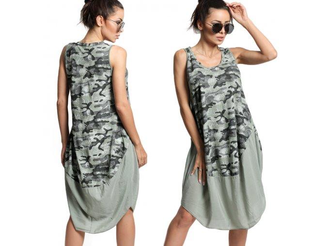 Nádherné módní letní bavlněné  šaty MORO KHAKI BOHO ITALY TC663