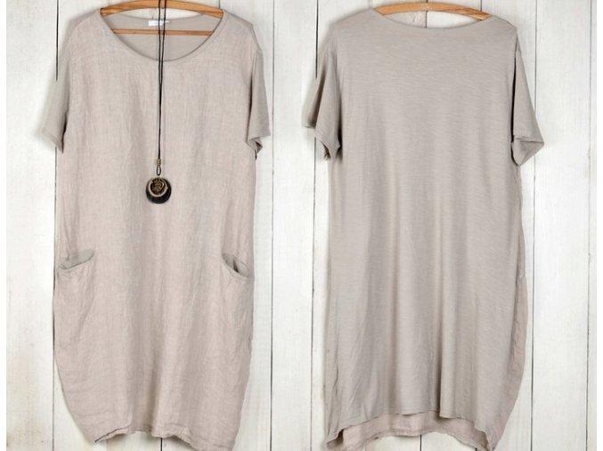 Nádherné letní lněné bavlněné šaty BOHO ITALY OVERSIZED+ náhrdelník  L/XL MD800