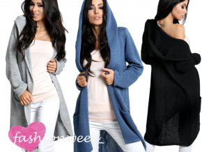 Maxi dlouhý  pevný svetr,cardigan,blezer s kapuci MUST HAVE
