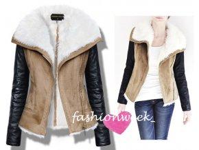 Stylová měkká kožená bunda s kožíškem Lux F55