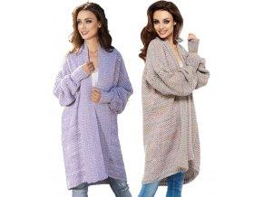 Dámský exclusive elegantní svetr kabát melanž LMD LS206