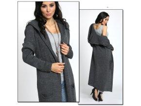 Neobvyklý pletený svetr kabát s kapucí MAXI NB5655