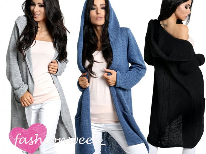 Maxi dlhý farebný sveter, cardigan, blazer s kapucňu/3681