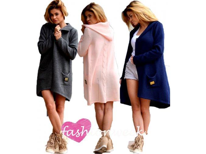 Mega tlustý pletený svetr  kabát s kapuci TOP TREND 3681
